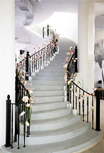 (CSFOTO 5x7ft Wedding Backdrop Luxury European Style Photography Background Spiral Staircase Flowers Interior Decoration Bridal Shower Girl Portrait Shooting Photo Booth Polyester Wallpaper)