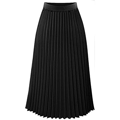 VEZAD Elastic Waist Maxi Skirt Womens Solid Pleated Elegant Midi Skirt