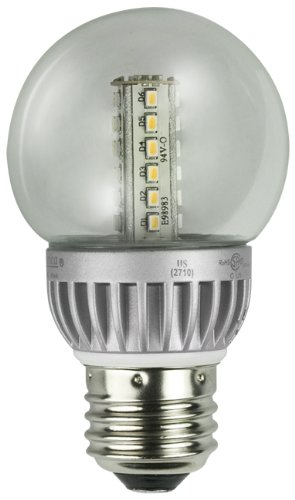 Lights of America 2326LED-LF4-24 2-Watt Power LED G16 Globe Bulb, Bright White