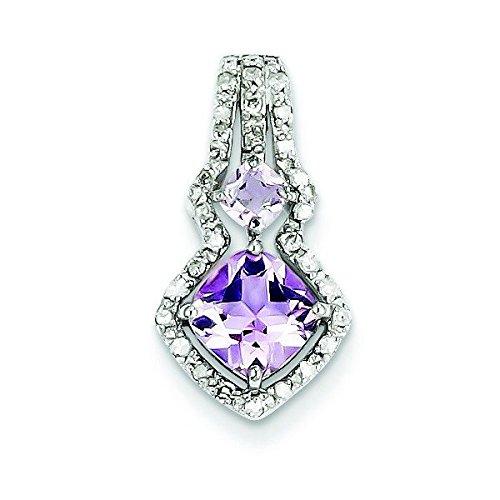 Argent Sterling diamant pendentif JewelryWeb rose-améthyste