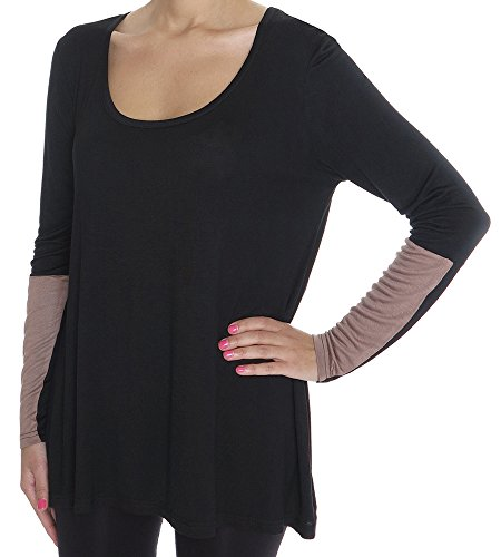 Capelli New York Ladies Solid Knit Long Sleeve Top With Cascade Hem And Sleeve Detail Black Combo Xl