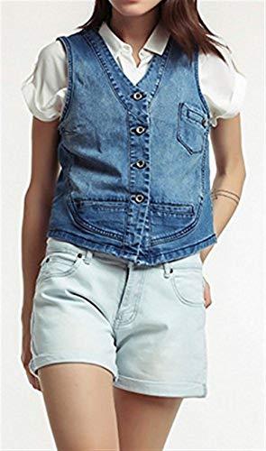 Chaleco Vaqueros Mujer Elegantes Moda Casual Cómodo Moderno Chaleco Joven  Primavera Otoño Sin Mangas con Botonadura Slim Fit Moda Chaquetas Outerwear  Women  ... 602fd10ed0b7