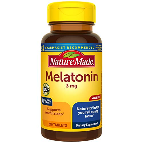 Melatonin 3mg Tablets, 240 Count for Supporting Restful Sleep