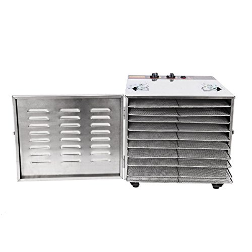 Ridgeyard 1000W Stainless Steel 10-Tray Countertop Food Dehydrator Fruit Jerky Dryer Food Saver Preserver Dehydration Vegetable Meat Beef Jerky Maker W/ Timer,Temperature Control for a Healthy Diet by Ridgeyard co,.ltd (Image #2)