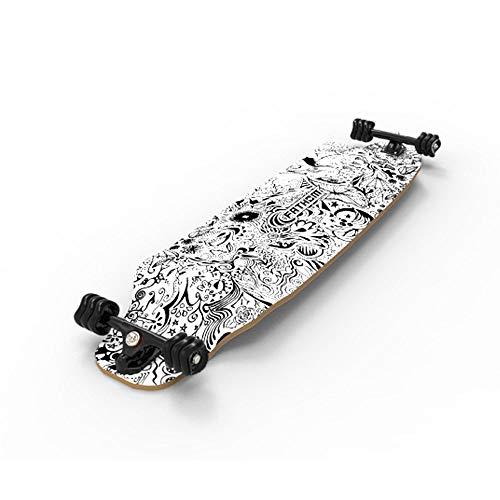 Fathom by Shark Wheel Day Dreamer Longboard Skateboard Complete, Black/White