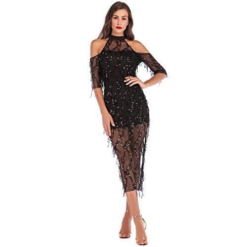 (2019 Women Sexy Halter Backless Cocktail Prom Gown Dress Deep V Neck High Split Wedding Bridesmaid Evening Long Dress (B_Black, Large))