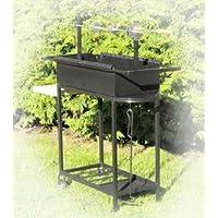 Spießgrill XXL schwarz Skewer Grill Garten Balkon ✔ eckig ✔ stehend grillen ✔ Grillen mit Holzkohle