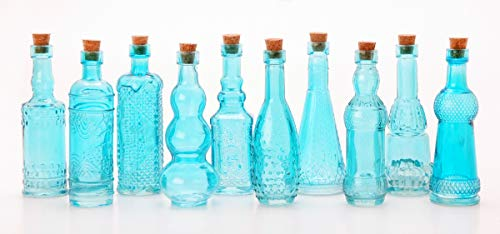 Medicine Bottle Blue - Darice Glass Bottles with Cork: Blue, 5 inches, Styles Vary, 1 Piece, 5