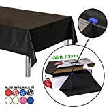 Neatiffy 54 Inch x 108 Feet Thick Plastic Table Cloth Roll Party/Banquet, Durable Table Cover (Reusable/Disposable) Tablecloths for Rectangle/Round/Square Tables, 12 Picnic Pack (Black)