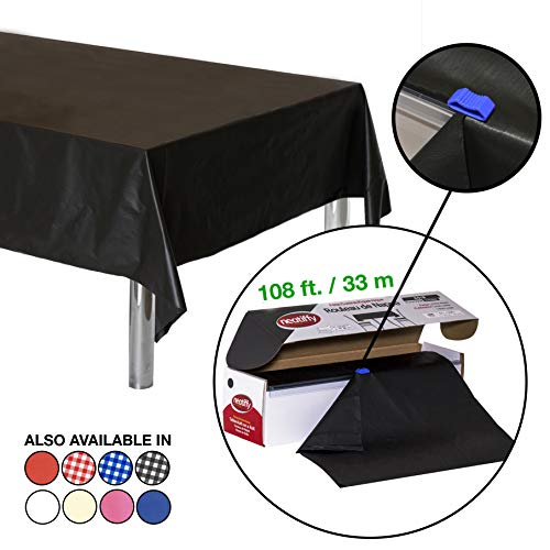 Rolls Black Plastic - Neatiffy 54 Inch x 108 Feet (Equal to 12 Pack) Roll Plastic Table Cloth Picnic/Party/Banquet, Heavy Duty Table Cover (Reusable/Disposable) Tablecloths for Rectangle/Round/Square Tables (Black)