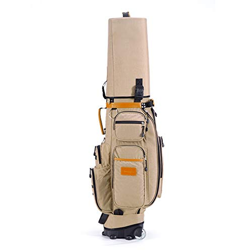(YZPGRFB Golf Bag Canvas Waterproof Golf Bag Multi-Function Aviation Suit Large Capacity Suitcase with Wheels,Password Lock (Color : Khaki))