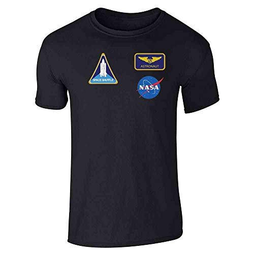 Pop Threads NASA Approved Astronaut Uniform Patches Costume Black L Short Sleeve T-Shirt -