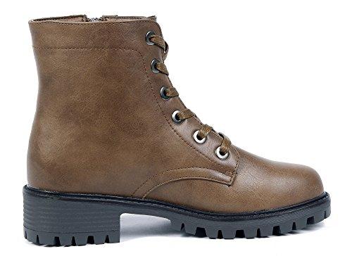 Mujer Shoes AgeeMi Cremalleras Baja Caña Botas Marr¨®n Cordones Grueso Tacón con 5gdwqdr