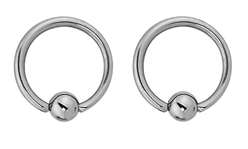 Titanium Captive Bead Ring - Forbidden Body Jewelry Pair of Every-Day Piercing Rings: 14g 11mm Titanium Captive Bead Hoop Rings, 4mm Balls