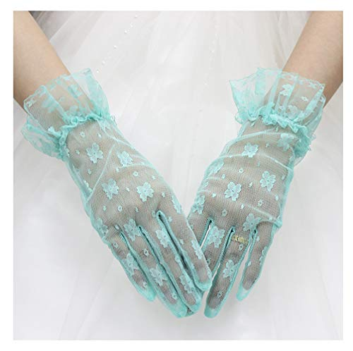 (XINAN Women's Short Lace Wrist Length Floral Gloves Sheer Wedding Evening Party Driving Gloves)