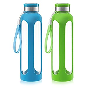 Swig Savvy Glass Water Bottle – 20oz / 32oz Break-resistant Borosilicate Glass + Silicone Protective Sleeve. BPA-Free Durable & Stylish. (20oz – Red) (Blue/Green, 32oz)