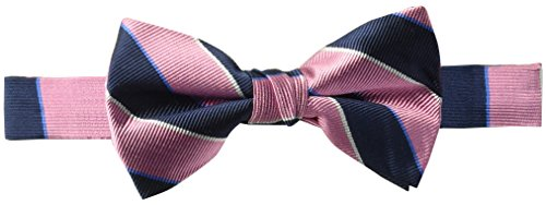 - BUTTONED DOWN Men's Classic Silk Pre-Tied Bow Tie, pink/navy stripe, One Size