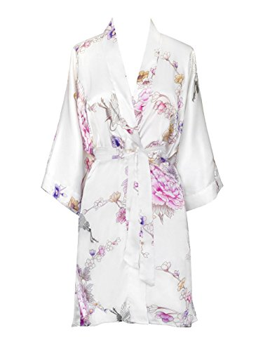 Old Shanghai Women's Kimono Short Robe - Chrysanthemum & Crane - White