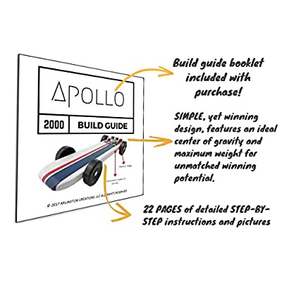 3.25 oz Tungsten Pinewood Derby Weights + 20 Page Step-by-Step Build Guide for Apollo 2000 Pine Car Showing Design + Weight Placement, Bring Your Car to The 5 oz Limit and Gain The Winning Edge: Toys & Games