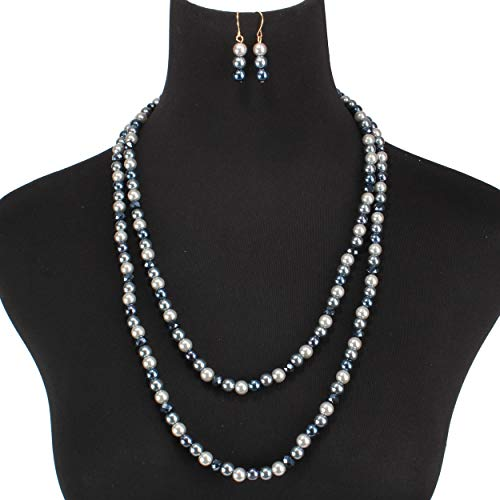 Radtengle Faux Pearls Bridal Wedding Necklace and Dangle Earrings Jewelry Set for Women Girls