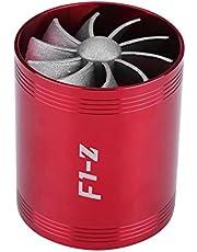 Qiilu Aluminum Car Air Intake Turbonator Dual Fan Turbine Super Charger Gas Fuel Saver Turbo(Red)