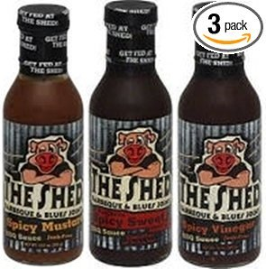 The Shed Barbeque & Blues Joint BBQ Sauce 13.5oz-15oz Bottle (Pack of 3) - Choose Flavor Below (Sampler Pack - 1 each of Southern Spicy Sweet Shed Spred *Spicy Mustard * Spicy Vinegar) (Sauce Mustard Vinegar)