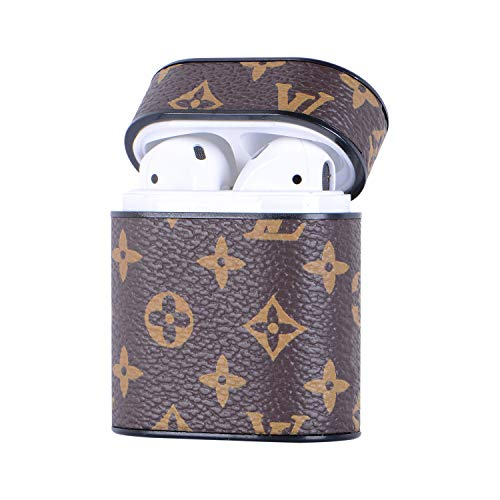 Apple AirPods 1 Wireless Charging Bluetooth Case Luxury Fashion PU Leather Protective Shockproof Cover(Brown Letter) (Burberry Key Case)