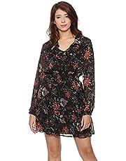 فستان قصير برقبة شكل V مكشكشة واكمام طويلة شفافة بنقشة ورود للنساء من انديامو فاشون XXL