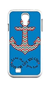 Cool Painting live the life you love love the life you live Anchor Chevron pattern Snap-on Hard Back Case Cover Shell for Samsung GALAXY S4 I9500 I9502 I9508 I959 -897