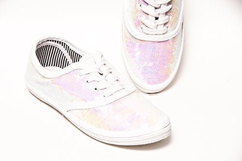(Women's Bridal Crystal Iris White Sequin Canvas Oxford Sneakers)