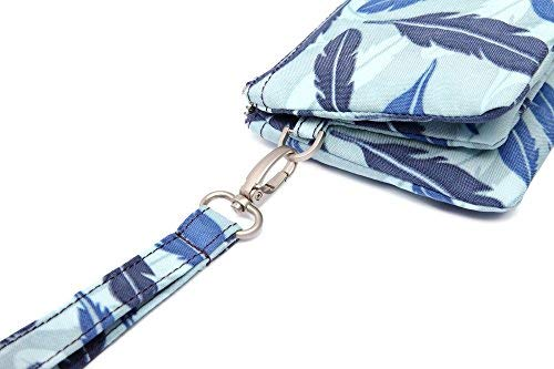 Crest Design Water Repellent Nylon Wristlet Clutch Wallet Cell Phone Pouch (Blue Feather) by Crest Design (Image #5)
