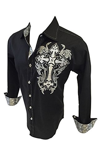 Men's Victorious Long Sleeve Button Down Shirt Tribal Cross Embroidery with Stones Black with Paisley Trim SH231 (Tribal Button Down Shirt)
