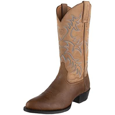 Ariat Men's Heritage Western R Toe Boot,Tumbled Brown/Brown Bomber,10 M US