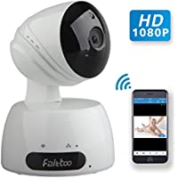 Wireless Security Camera, Faittoo 1080P Home Security Surveillance Camera HD Pan and Tilt WiFi Camera with Motion Detection Two-Way Audio Night Vision for Pet, Baby Video Monitor Nanny Camera, White