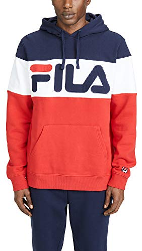 Fila Men's Flamino Pullover Logo Hoodie, Navy, Blue, Graphic, Red, ()