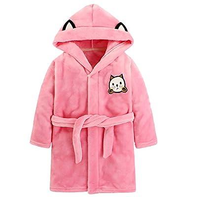 iDuoDuo Kids Cute Cat Cartoon Party Robe Warm Flannel Hooded Bath Gown Pajamas Bathrobe