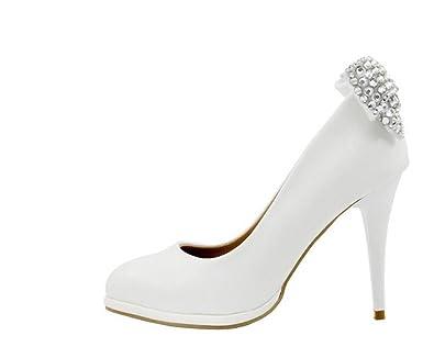 dc988365a4ba78 UENGF High Heel Weiße Schuhe Frauen Schmetterling-Knoten Kristall Süß 9 cm High  Heels Schuhe Schuhe Hochzeit Schuhe Elegante Party Pumpen
