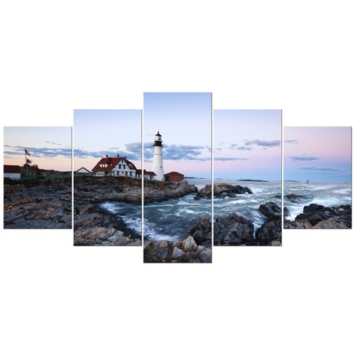Wieco Art - Portland Lighthouse 5 Piece Seascape Canvas Paintings Wall Art Extra Large Modern Ocean Sea Beach Giclee Canvas Prints Artwork Pictures Home Office Decoration for Living Room Bedroom XL (Large Decor Nautical Wall)