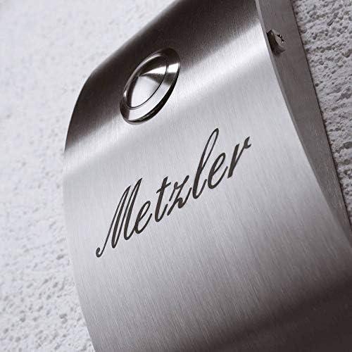 Metzler de Trade/® Sonnette de Porte en Acier Inoxydable Montage en saillie/ /Facile /à montage encastr/é /avec sonnette/ /Plaque de sonnette avec gravure///étiquette avec nom de/