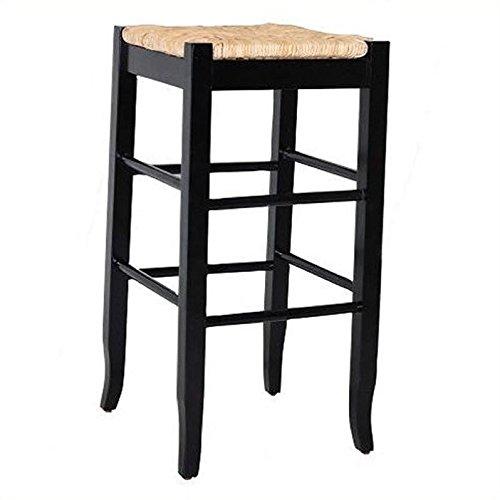 (Boraam 94929 Square Rush Seat Bar Height Stool, 29-Inch, Black )
