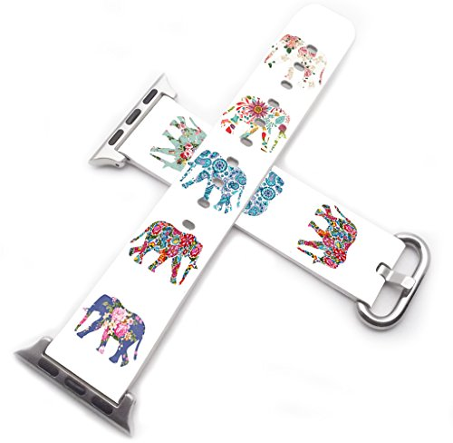 (Strap Compatible for Apple Watch Series 4/3/2/1 44mm/42mm - ENDIY Designer Leather Fashionable Band Replacement for Iwatch Floral Flower Colorful Cute Elephant Animal Design Print for)