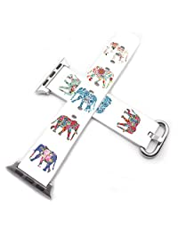 Iwatch Series 2 Straps 42mm Women,Apple Watch Bands 42mm Leather Replacement Women Men Sport Pattern Series 1 Series 2 Floral Flower Colorful Cute Elephant Animal Design Print For Girls