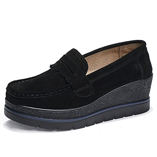 HKR-775heise38 Women Platform Suede Moccasins Moc Toe Penny Loafers Slip On Wedge Fashion Sneakers Black 7 B(M) US
