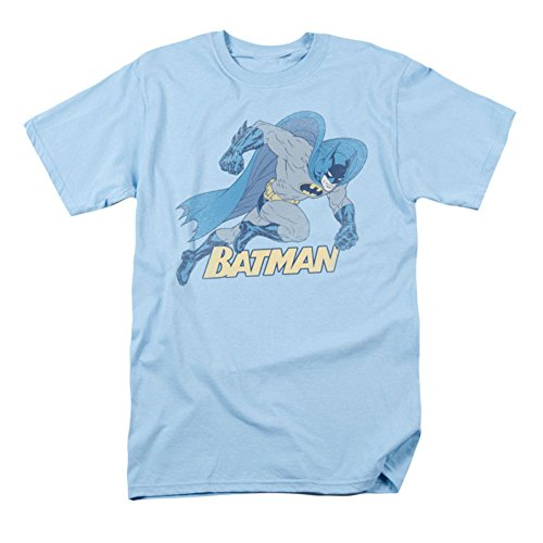 Batman+Retro+Shirts Products : BATMAN RUNNING RETRO LIGHT BLUE MENS S/S T-SHIRT