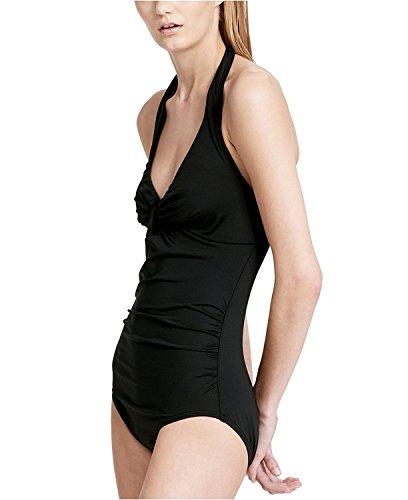 Calvin Klein Women's Twist Halter One-Piece Tummy-Control Swimsuit Black 14 by Calvin Klein