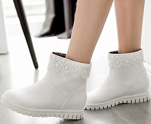 Round Low Women's Heel Wedge Toe Ankle Booties White On IDIFU Pull Comfy TYwEqwd8