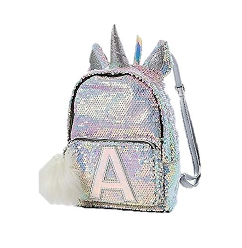 Justice Flip Sequin Mini Backpack Bleach White Unicorn Initial Letter K