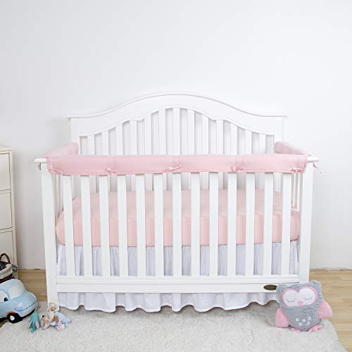 (TILLYOU 3-Piece Padded Baby Crib Rail Cover Protector Set from Chewing, Safe Teething Guard Wrap for Standard Cribs, 100% Silky Soft Microfiber Polyester, Fits Side and Front Rails,)