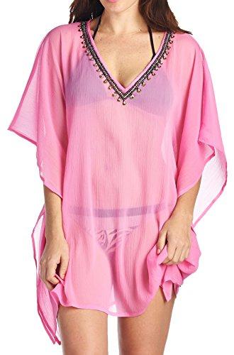 High Style Women's Sheer Bikini Swimsuit Cover Up Tube Kaftan with beaded neckline (123, Pink, L/XL)