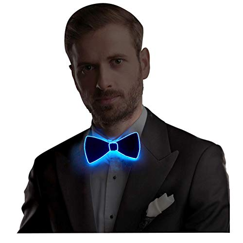 Burning Man Bow Tie LED El Wire Tie with Switch Controller, Novelty Party Dress Decor